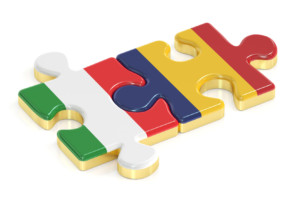 60836874 - italy and romania puzzles from flags, 3d rendering