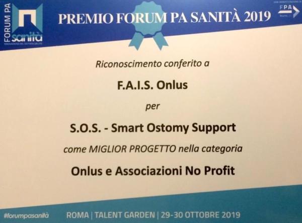"""S.O.S. Smart Ostomy Support della FAIS miglior progetto italiano di connect care al Forum PA Sanità nella categoria """"Associazioni no profit"""""""